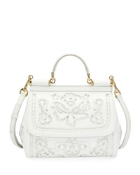 Dolce And Gabbana Miss Sicily Lambskin Lace Satchel Bag White Pattern