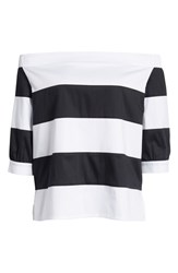 Ming Wang Off The Shoulder Stripe Top White Black