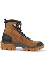 Moncler Helis Leather Trimmed Suede Ankle Boots Tan
