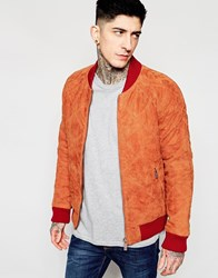 Scotch And Soda Suede Bomber Jacket In Diamond Quilting. Tan