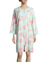 Miss Elaine Floral Printed Long Sleeve Nightgown Pink Floral