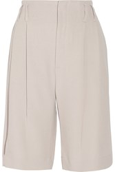 Brunello Cucinelli Pleated Crepe Straight Leg Shorts Gray