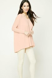 Forever 21 High Low Slub Knit Top Pink