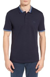 Lacoste Men's Semi Fancy Slim Fit Stretch Pique Polo Shirt Cosmos Blue Moulin Steamer