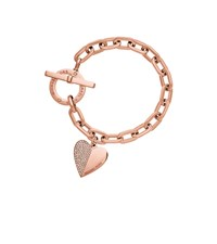 Michael Kors Heart Charm Rose Gold Tone Toggle Bracelet