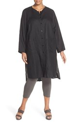Plus Size Women's Eileen Fisher Handkerchief Linen Mini Mandarin Collar Long Jacket Black