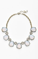 Women's Robert Rose Tear Drop Collar Necklace White Opal Brass Ox