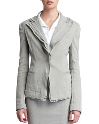 Donna Karan Layered Lapel Linen Blend Jacket Hemp