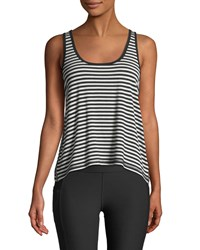 X By Gottex Side Binding Striped Jersey Tank Black White