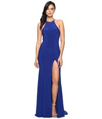 Faviana Jersey Halter W Back Cut Out 7976 Royal Women's Dress Navy