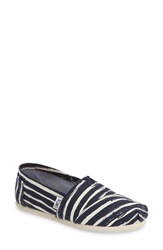 Toms Women's Striped Alpargata Slip On Navy