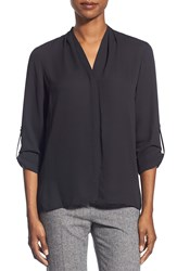 T Tahari 'Taylor' Roll Sleeve Blouse Black