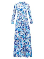 Vika Gazinskaya Floral Print Satin Maxi Dress Multi