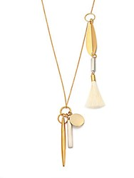 Chloe Harlow Feathered Tassel Pendant Necklace Gold Ivory