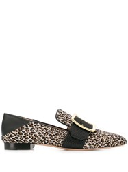 Bally Leopard Print Loafers Grey