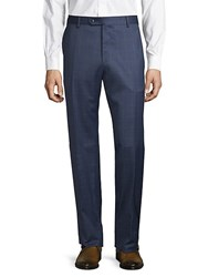 Lubiam Windowpane Wool Trousers Navy