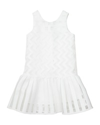 Milly Minis Illusion Fil Coupe Dress White