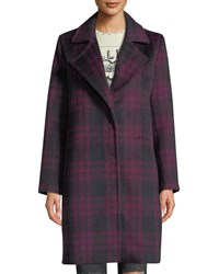Cupcakes And Cashmere Aldean Plaid Snap Front Long Coat Red