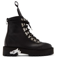 Off White Black Leather Hiking Boots