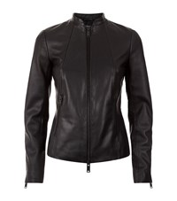 Reiss Adalie Croc Effect Leather Jacket Female Black