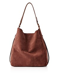 Allsaints Paradise Suede North South Tote Brandy Brick Brown
