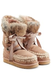 Mou Lace Front Sheepskin Boots With Fur Cuff Camel