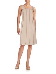 Lafayette 148 New York Adelaide Stretch Cotton A Line Dress Hickory