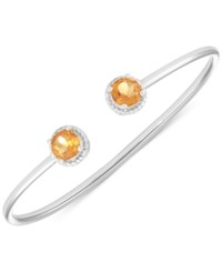 Macy's Citrine Open Bangle Bracelet 2 3 8 Ct. T.W. In Sterling Silver
