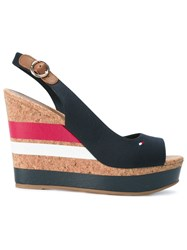 Tommy Hilfiger Striped Wedged Sandals Women Cork Leather Tactel Rubber 39 Blue