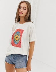 Daisy Street Relaxed T Shirt With Tarot Print Beige