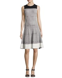 Narciso Rodriguez Sleeveless Geometric Tweed Dress White Black