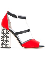 Pollini Decor Colour Block T Bar Sandals Red