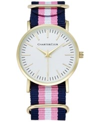 Charter Club Women's Pink Navy And White Strap Watch 36Mm Only At Macy's