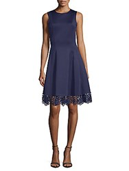 Donna Ricco Lace Hem Fit And Flare Dress Spring Navy