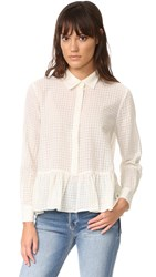 The Great Ruffle Oxford Blouse Cream Dobby