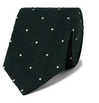 Drakes Drake's 8.5Cm Embroidered Polka Dot Slub Silk Tie Green