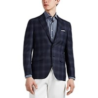 Sartorio Pg Plaid Wool Two Button Sportcoat Navy