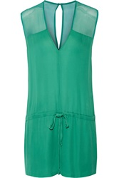 Mason By Michelle Mason Chiffon Paneled Silk Georgette Playsuit Green