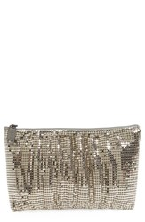 Whiting And Davis Shirred Mesh Pouch Clutch Grey Pewter