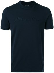 Armani Jeans Applique Logo T Shirt Men Cotton Spandex Elastane Xxl Blue