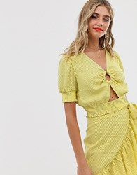 Moon River Ring Detail Crop Top In Yellow Polka Dot