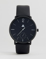 Asos Watch In Black With Textured Strap Black