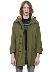 Saint Laurent Faux Fur Lined Cotton Canvas Parka