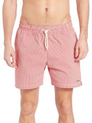 Barbour Striped Swim Trunks Red