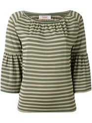 Jucca Striped Trumpet Sleeve Top Women Nylon Polyester Viscose L Green