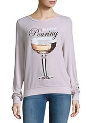 Wildfox Couture Textured Long Sleeve Tee Lilac Dawn