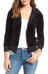 Juicy Couture Women's Robertson Velour Hoodie Pitch Black