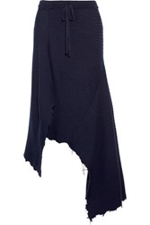 Marques' Almeida Asymmetric Ribbed Wool Skirt Navy