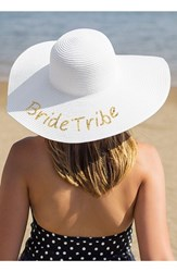 Cathy's Concepts Women's Sequin Bride Tribe Straw Hat Metallic Gold