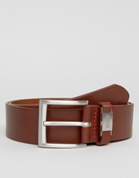 Hugo By Boss Leather Connio Belt In Tan Brown